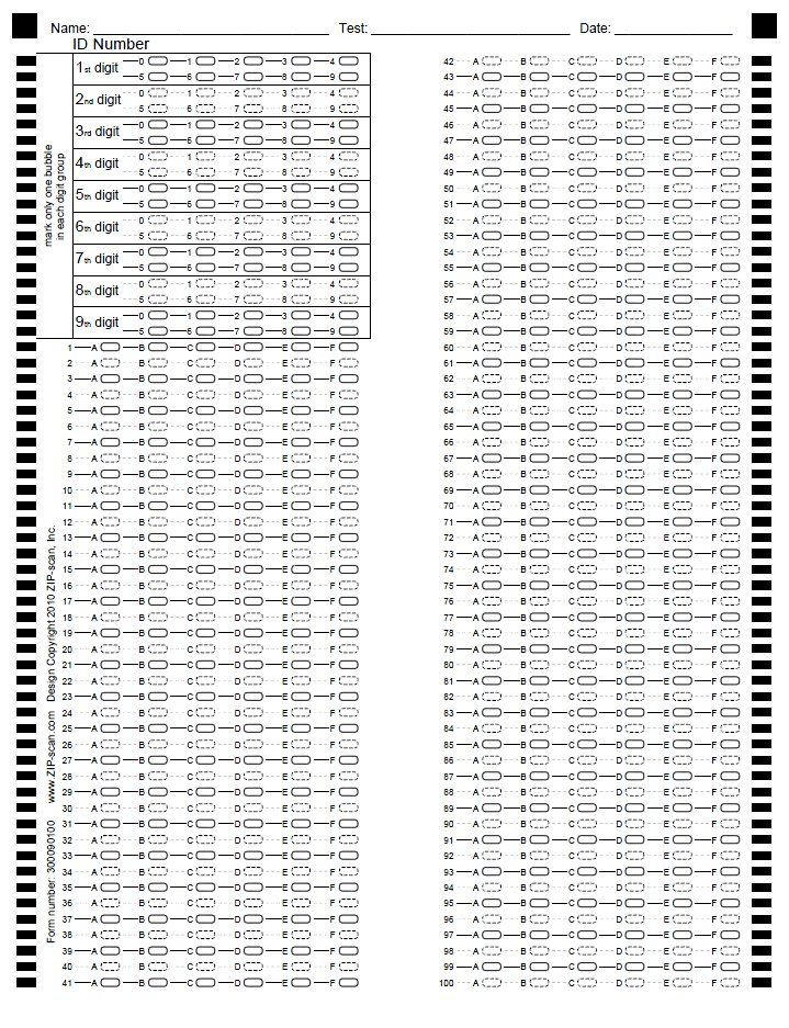 It is a picture of Bubble Sheet Printable with answer